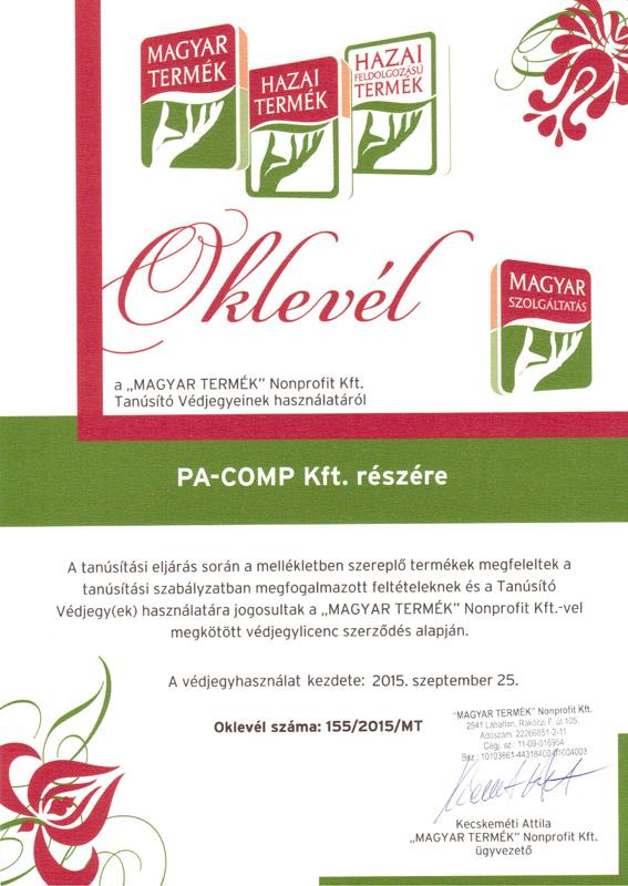 Magyar Termék Oklevél 2015