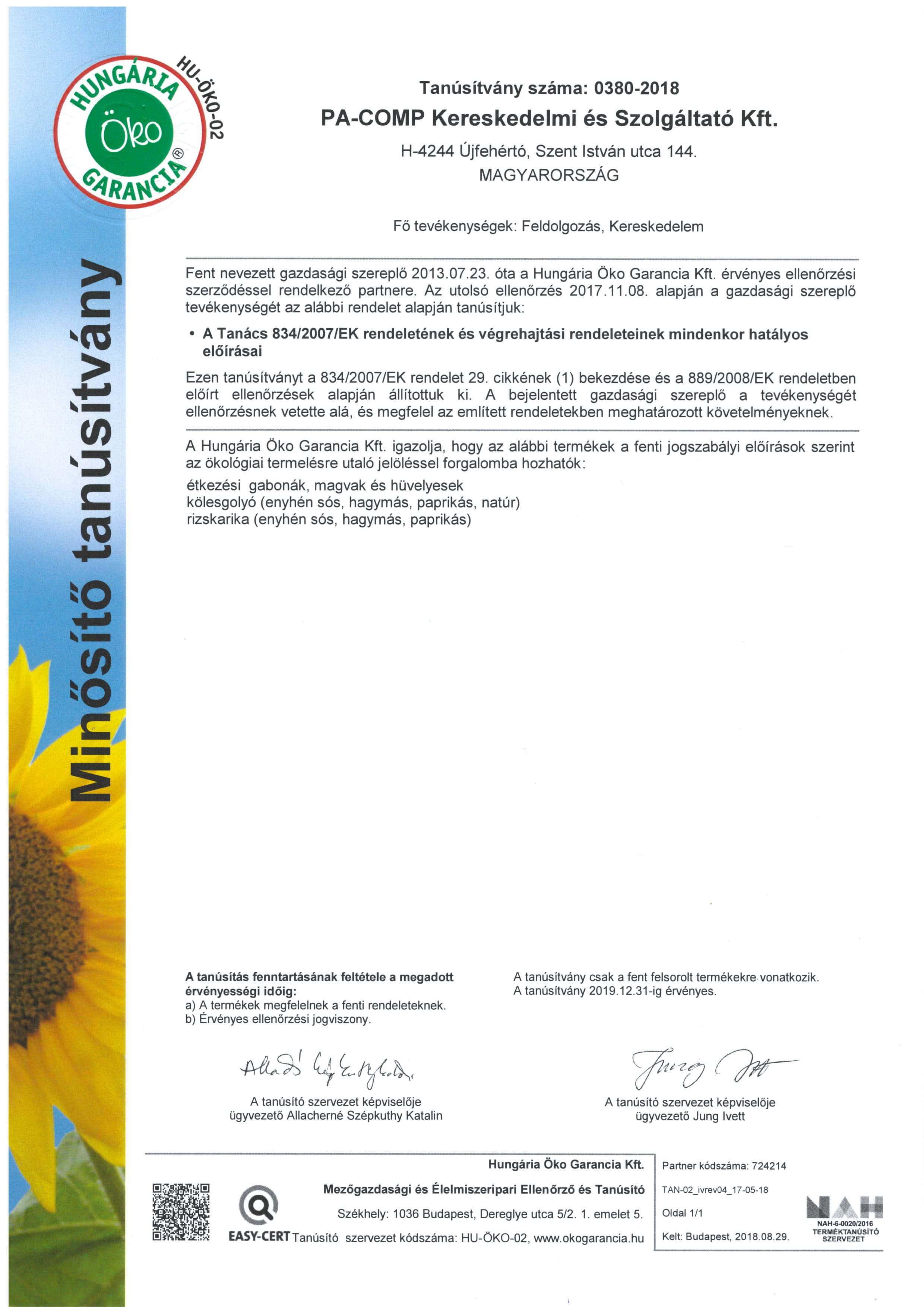 Bio certifikát 2018